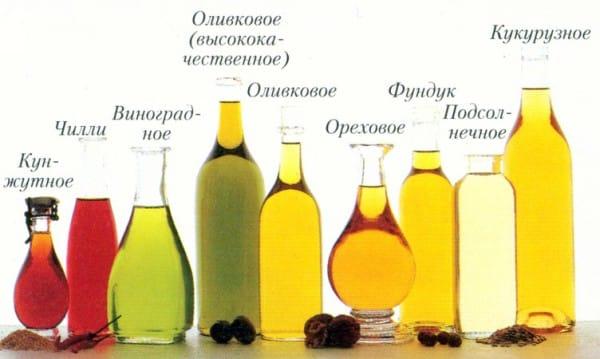 растительные масла в меню