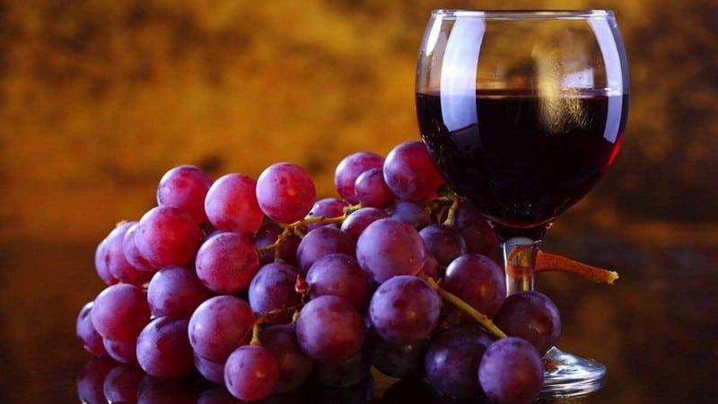 Красный виноград и вино